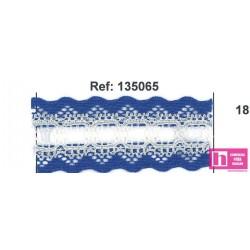 135065-18 GALON PASACINTAS NYLON GERMAN 30 MM. POLIAMIDA 100% AZUL/MARFIL VENTA EN PZAS DE 25 M APROX
