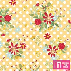 P17-MAS9904-S PATCH.AMERICANO RED, WHITE AND BLOOM (06) 110CM. ALG. 100%  AMARILLO VENTA EN PZAS. DE 7 M APRO