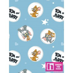 P108-24160108-01 PATCH. AMERICANO TOM AND JERRY  (01) 110 CM. ALG 100% AZUL VENTA EN PZAS. DE 7 M APRO