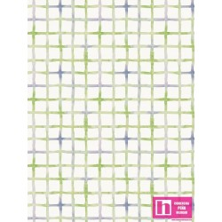 P121-LITD4160G PATCH. AMERICANO LITTLE DARLINGS (08)  110 CM. ALG 100% BLANCO/VERDE VENTA EN PZAS. DE 7 M APRO