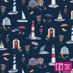 62431 PATCH.AMERICANO BY THE SEA (12) 110 CM. ALG 100% NAVY VENTA EN PZAS. DE 6.80 M APRO
