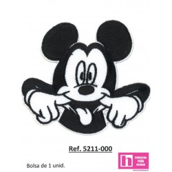5211-000 APLICACION ADHESIVA MICKEY MOUSE CARITA 85 X 80 MM POLIESTER 100% BLANCO/NEGRO VENTA EN BOLSAS DE 1 UD. APROX