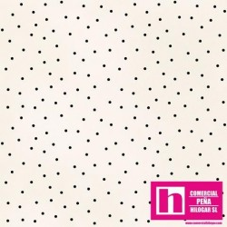 P0017-MAS8119-EJ PATCH. AMERICANO BEAUTIFUL BASICS-SCATTERED DOT (83) 110 CM. ALG 100% NATURAL/NEGRO VENTA EN PZAS. DE 7 M