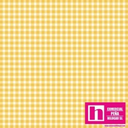 P0017-MAS610-S3 PATCH. AMERICANO BEAUTIFUL BASICS-CLASSIC CHECK (54) 110 CM. ALG 100% AMARILLO/BLANCO VENTA EN PZAS. DE 7 M