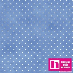 P0017-MAS609-BB1 PATCH. AMERICANO BEAUTIFUL BASICS-CLASSIC DOT (39) 110 CM. ALG 100% CELESTE/BLANCO VENTA EN PZAS. DE 7 M