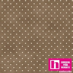 P0017-MAS609-A3 PATCH. AMERICANO BEAUTIFUL BASICS-CLASSIC DOT (13) 110 CM. ALG 100% MARRON/BLANCO VENTA EN PZAS. DE 7 M APROX.