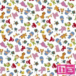 62752 TEJIDO ESTAMPADO POCOYO AND FRIENDS () 1.50 M. PERCAL ALG 100% MULTI VENTA EN PZAS. DE 10 M APRO