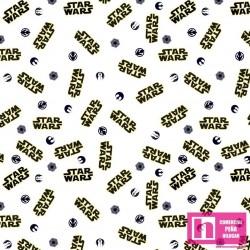 62747 TEJIDO ESTAMPADO STAR WARS LOGO () 1.50 M. PERCAL ALG 100% BLANCO VENTA EN PZAS. DE 10 M APRO