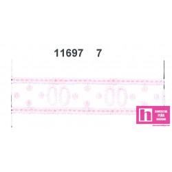 11697-7 PASACINTAS BORDADO PLUMETI ANAISA 15 MM. POL.60%-ALGODON 100% BLANCO/ROSA VENTA EN PIEZAS DE 13.80 M. APROX