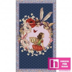 59285 PATCH. AMERICANO FLOWERS FAIRIES (06) PANEL 110 CM. ALG 100% MULTICOLOR VENTA EN PZAS. DE 6 M APROX.