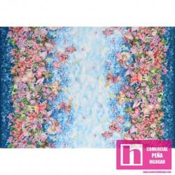 59279 PATCH. AMERICANO WHISPER FLOWER FAIRIES (03) 110 CM. ALG 100% AZUL/ROSA VENTA EN PZAS. DE 6 M APROX.