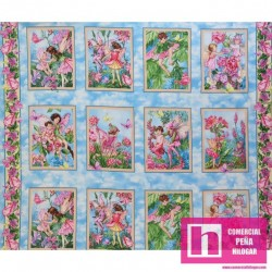 59277 PATCH. AMERICANO WHISPER FLOWER FAIRIES (01) PANEL 110 CM. ALG 100% CELESTE VENTA EN PZAS. DE 6 M APROX.