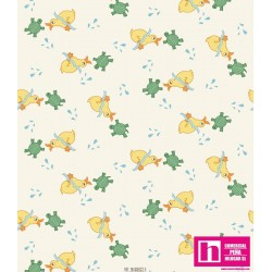 51672 PATCH.AMERIC. ANIMAL QUACKERS (31) 110 CM. ALG 100% BLANCO VENTA EN PZAS. DE 7 M APROX.