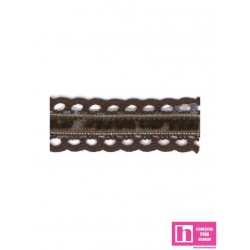 145354-26 GALON BOLILLO TERCIOPELO RUA 25 MM. ALGODON 70%-POL.30% CHOCOLATEVENTA EN PIEZAS DE 25 MTS. APROX