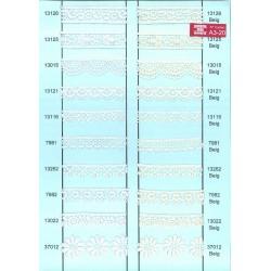 13121-000 BORDADO GUIPUR POLIESTER 100% BLANCO VENTA EN PZAS. DE 13,8 M. APROX.