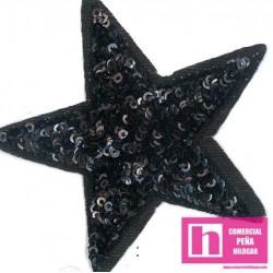 120-M083 NEGRO FANTASTIC STARS APLICACION FANTASIA TERMOADHESIVA 8 X 8 POLIESTER 100% NEGROVENTA EN BOLSAS DE 5 UDS.