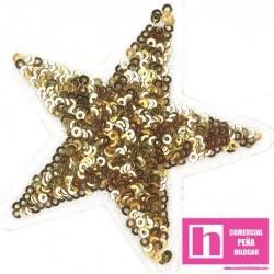 120-M083 DORADO FANTASTIC STARS APLICACION FANTASIA TERMOADHESIVA 8 X 8 POLIESTER 100% DORADOVENTA EN BOLSAS DE 5 UDS.
