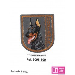 5098-B000 APLICACION TERMOADHESIVA DOBERMAN 50X55 MM POLIESTER 100% GRISVENTA EN BOLSAS DE 3 UD. APROX