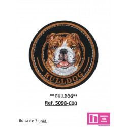 5098-C000 APLICACION TERMOADHESIVA BULLDOG 60 MM POLIESTER 100% NEGROVENTA EN BOLSAS DE 3 UD. APROX