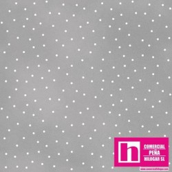 P0017-MAS8119-K PATCH. AMERICANO BEAUTIFUL BASICS-SCATTERED DOT (93) 110 CM. ALG 100% GRIS/BLANCO VENTA EN PZAS. DE 7 M APROX.