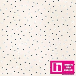 P0017-MAS8119-EB PATCH. AMERICANO BEAUTIFUL BASICS-SCATTERED DOT (85) 110 CM. ALG 100% NATURAL/AZUL VENTA EN PZAS. DE 7 M