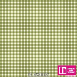 P0017-MAS610-GS2 PATCH. AMERICANO BEAUTIFUL BASICS-CLASSIC CHECK (63) 110 CM. ALG 100% OLIVA/BLANCO VENTA EN PZAS. DE 7 M
