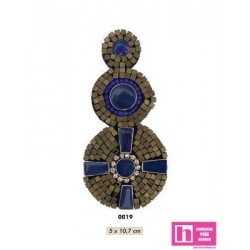 858139-0019 APLIQUE FANTASIA EGIPTO 5 X 10.7 CM ACRILICO 100% AZUL VENTA EN BOLSAS DE 5 UD. APROX