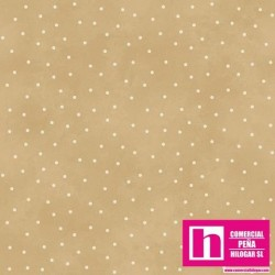 P0017-MAS8119-TE PATCH. AMERICANO BEAUTIFUL BASICS-SCATTERED DOT (90) 110 CM. ALG 100% CAMEL/BLANCO VENTA EN PZAS. DE 7 M