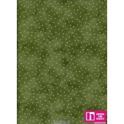 P0017-MAS8119-GE PATCH. AMERICANO BEAUTIFUL BASICS-SCATTERED DOT (102) 110 CM. ALG 100% OLIVA/BLANCO VENTA EN PZAS. DE 7 M