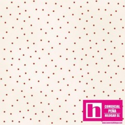 P0017-MAS8119-ER PATCH. AMERICANO BEAUTIFUL BASICS-SCATTERED DOT (84) 110 CM. ALG 100% NATURAL/ROJO VENTA EN PZAS. DE 7 M