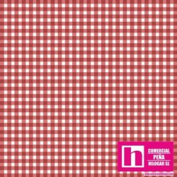 P0017-MAS610-R PATCH. AMERICANO BEAUTIFUL BASICS-CLASSIC CHECK (58) 110 CM. ALG 100% COBRE/BLANCO VENTA EN PZAS. DE 7 M APROX.