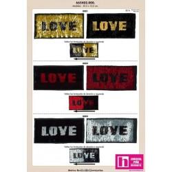 665402-0001 LOVE APLICACION LENTEJUELAS 25X12 PVC 50%-RAYON 50% NEGRO/ORO VENTA EN BOLSA DE 1 UDS.