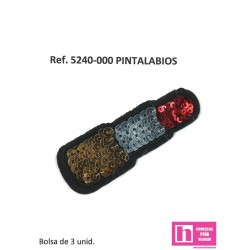 5240-000 APLICACION TERMOADHESIVA PINTALABIOS FANTASIA 25 X 70 MM POLIESTER 100% ROJO VENTA EN BOLSAS DE 3 UD. APROX