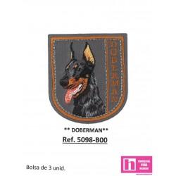 5098-B000 APLICACION TERMOADHESIVA DOBERMAN 50X55 MM POLIESTER 100% GRIS VENTA EN BOLSAS DE 3 UD. APROX