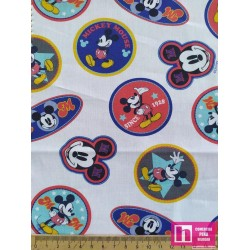 62570 TEJIDO ESTAMPADO MICKEY MOUSE WORLD (00) 1.50 M. POPELIN ALG 100% BLANCO/MULTI VENTA EN PZAS. DE 10 M. APRO