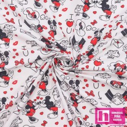 62301 TEJIDO ESTAMPADO MICKEY AND FRIENDS (01) 1.50 M. ALG 100% BLANCO/ROJO VENTA EN PZAS. DE 10 M. APRO