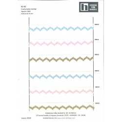 56511 FANTINE PUNTILLA BOLILLO 25 MM. ALG 100% BLANCO/ROSA VENTA EN PZAS. DE 25 M. APROX.