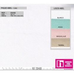 35408 ABEL PIQUE LISO (08) 1.60 MTS. ALG.88%-POL.12% BLANCO VENTA EN PZAS. DE 10 M. APROX.