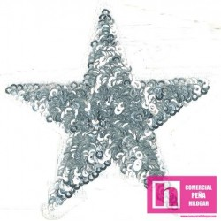 120-M083 PLATA FANTASTIC STARS APLICACION FANTASIA TERMOADHESIVA 8 X 8 POLIESTER 100% PLATA VENTA EN BOLSAS DE 5 UDS.