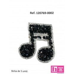 120769-0002 APLICACION TERMOADHESIVA NOTA MUSICAL FANTASIA 60 X 60 MM ACRILICO/CRISTAL NEGRO VENTA EN BOLSAS DE 10 UD. APROX