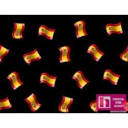 62671 TEJIDO ESTAMPADO SPAIN (3) 1.50 M. ALG 100% NEGRO VENTA EN PZAS. DE 10 M APRO
