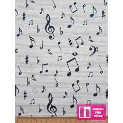 61008 TEJIDO ESTAMPADO CHILDRENS WORLD-MUSICAL (01) 1.50 M. ALG 100% BLANCO/NEGRO VENTA EN PZAS. DE 10 M APROX.