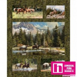 P17-MASD9107-G PATCH. AMERICANO HIGH COUNTRY CROSSING (21)  PANEL 110 CM. ALGODON 100% MUSGO/MULTI VENTA EN PZAS. DE 7 M. APRO