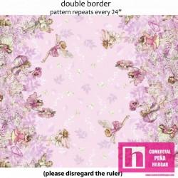 59288 PATCH. AMERICANO PETAL FLOWERS FAIRIES (02) 110 CM. ALG. 100% ROSA VENTA EN PZAS. DE 6 M APROX.