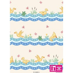 51674 PATCH.AMERIC. ANIMAL QUACKERS (33) 110 CM. ALG. 100% BLANCO VENTA EN PZAS. DE 7 M APROX.