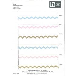 56511 FANTINE PUNTILLA BOLILLO 25 MM. ALG. 100% BLANCO/ROSA VENTA EN PZAS. DE 25 M. APROX.