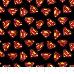 P108-23400704-05 PATCH. AMERICANO SUPERMAN (08) 110 CM. ALGODON 100% NEGRO VENTA EN PZAS. DE 7 M. APRO
