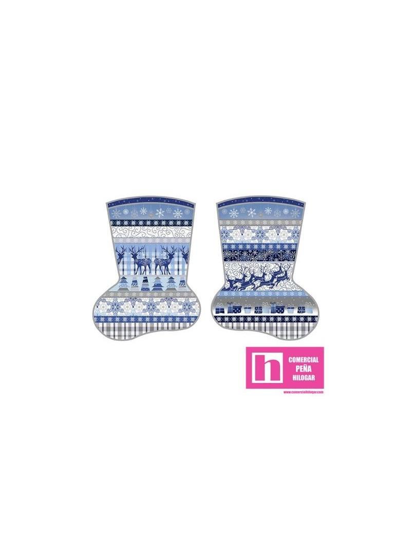 P23-672411 PATCH.AMERIC. BLUE HOLIDAYS (19) PANEL BOTAS 110 CM. ALGODON 100% AZUL VENTA EN PZAS. DE 7 M.