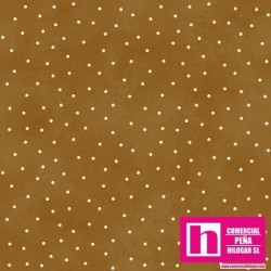 P0017-MAS8119-T PATCH. AMERICANO BEAUTIFUL BASICS-SCATTERED DOT (91) 110 CM. ALGODON 100% MOSTAZA/BLANCO VENTA EN PZAS. DE 7 M.