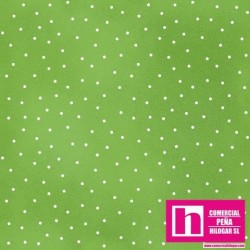 P0017-MAS8119-GG PATCH. AMERICANO BEAUTIFUL BASICS-SCATTERED DOT (101) 110 CM. ALGODON 100% CESPED/BLANCO VENTA EN PZAS. DE 7 M.
